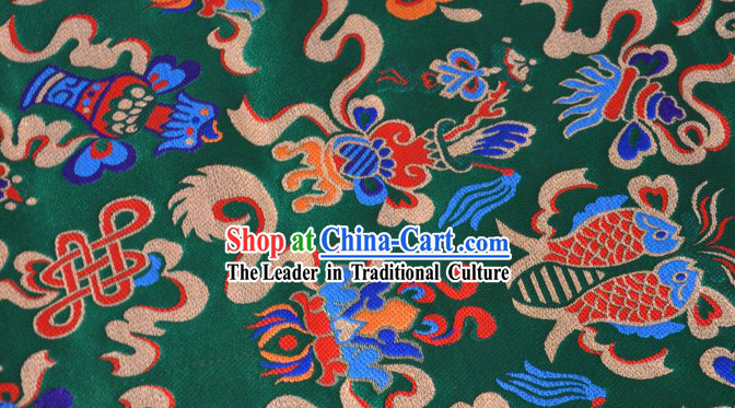 Traditoinal Chinese Double FishesBrocade Fabric