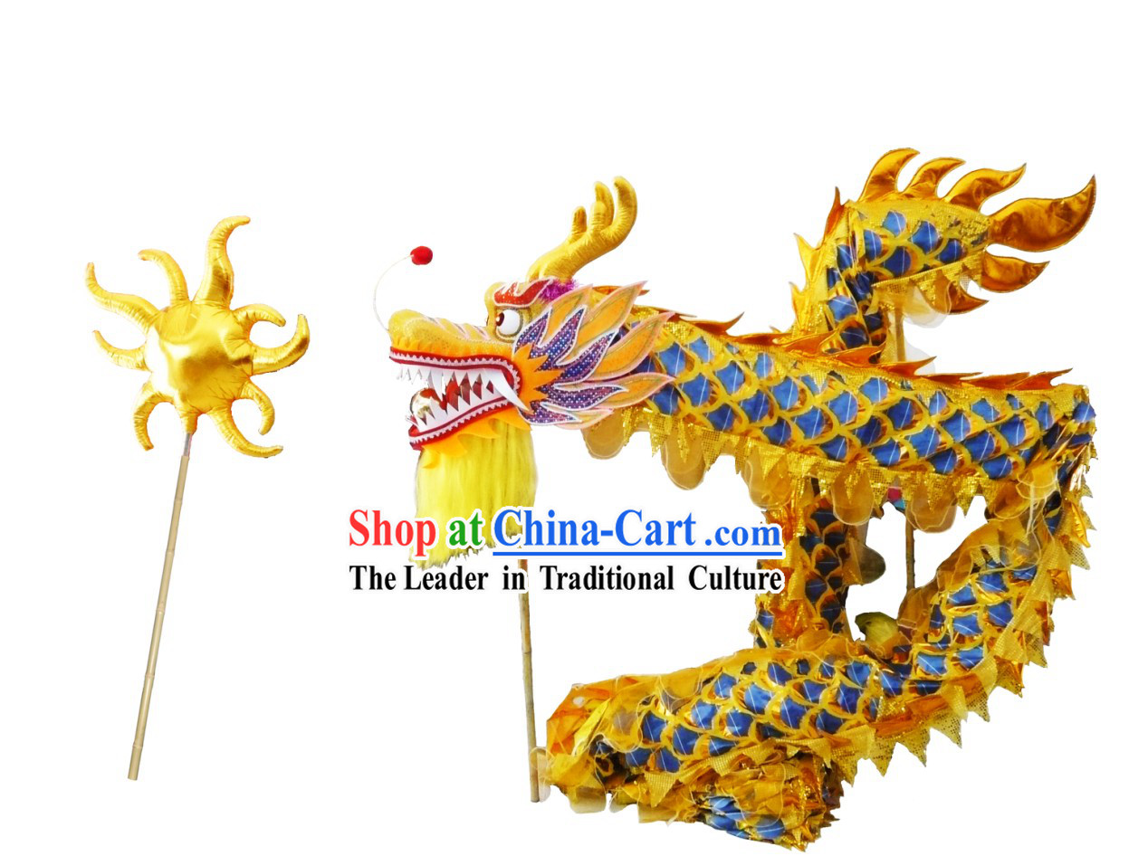 Competition and Performance Shinning Golden Lightweight Net Dragon Dance Costumes Complete Set