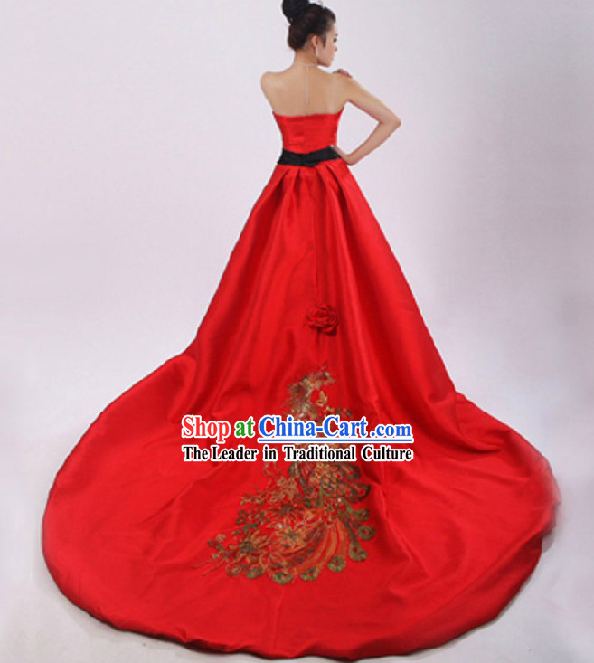 Lucky Red Chinese Phoenix Wedding Dress