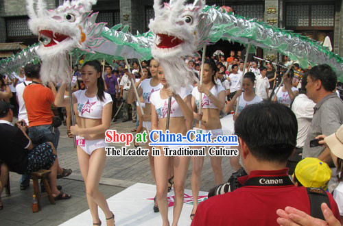 Shinning Silver Show Dragon Dance Costume Complete Set