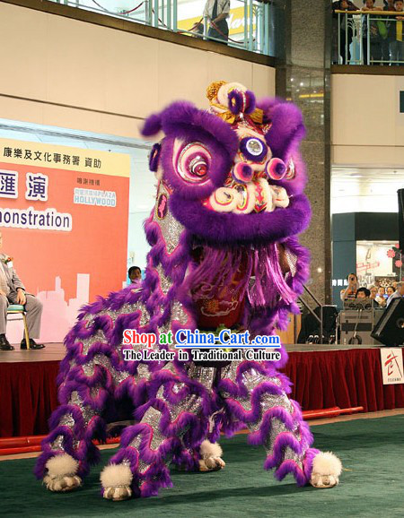 Luminous Competition and Parade Purple Sheep Fur Lion Dance Costume Complete Set