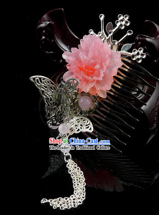 Traditional Chinese Butterfly and Flower Hair Ornament