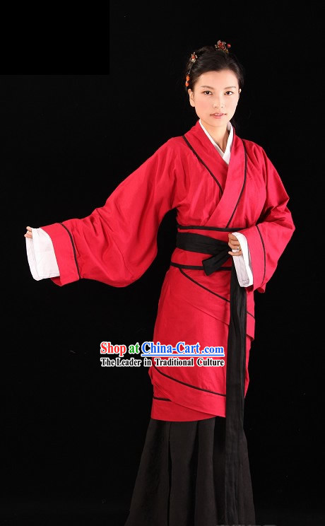 Ancient Chinese Red Hanfu Clothing Complete Set
