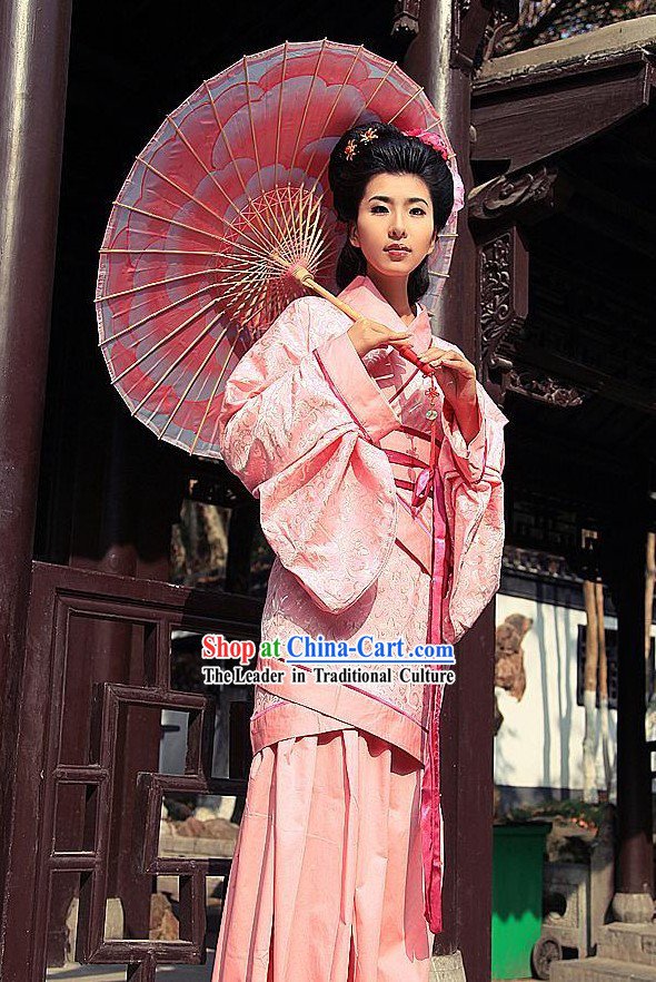 Ancient Chinese Pink Women Han Fu_Hanfu Clothing