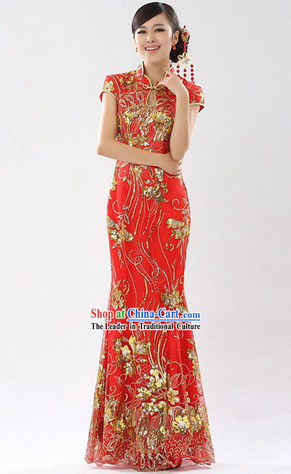 Traditional Chinese New Year Red Cheongsam