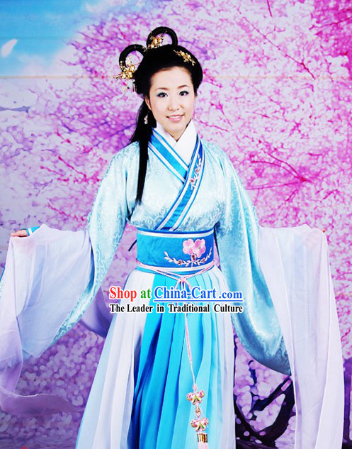 Ancient Chinese Mandarin Light Blue Beauty Hanfu Dress Set