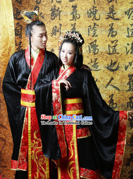 Ancient Chinese Royal Wedding Dress Complete 2 Sets for Men and Women