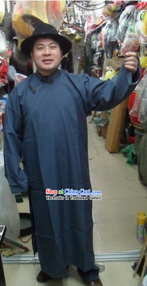 Chinese Minguo Time Long Robe and Hat for Men