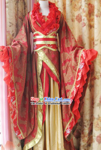 Ancient Chinese Red Phoenix Wedding Dress for Brides