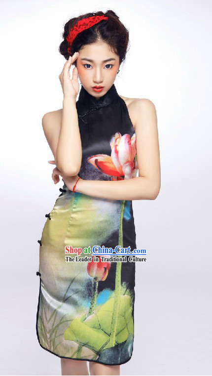 Traditional Chinese Silk Lotus Cheongsam