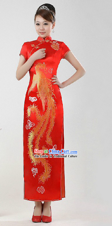 Traditional Chinese Red Phoenix Wedding Cheongsam