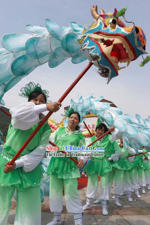Traditional Blue Lotus Dragon Dance Costume Complete Set