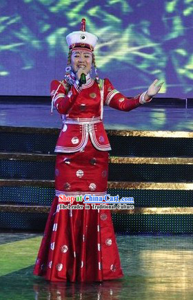 Chinese Mongolian Women Singer Clothing and Hat Set