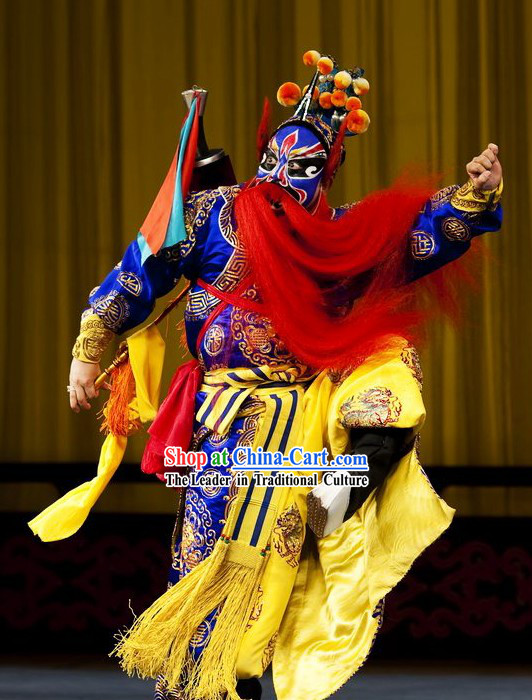 Chinese Peking Opera Costume and Helmet Set