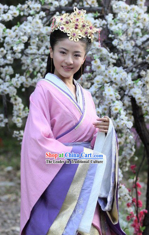 Hanfu Chinese Clothing and Headpiece Set