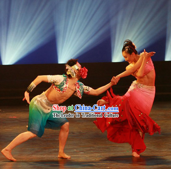 Chinese Dai Ethnic Minority Dance Costumes 2 Sets