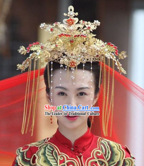 Chinese Golden Wedding Phoenix Crown _ Traditional Wedding Hat _ Ancient Wedding Hat