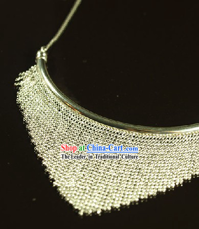 Chinese Hand Carved Miao Silver Necklace