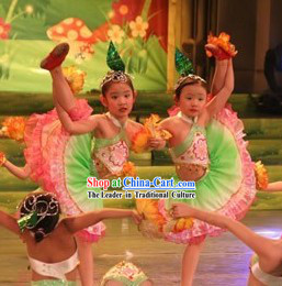 Chinese Children Folk Flower Dance Costumes