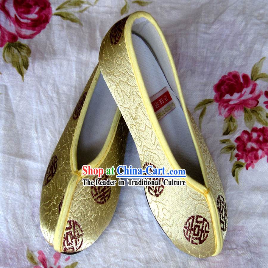 Chinese Yellow Embroidery Shoes for Boys