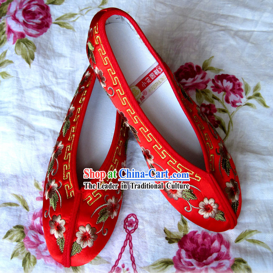 Chinese Red Wedding Hanfu Embroidery Shoes for Bride