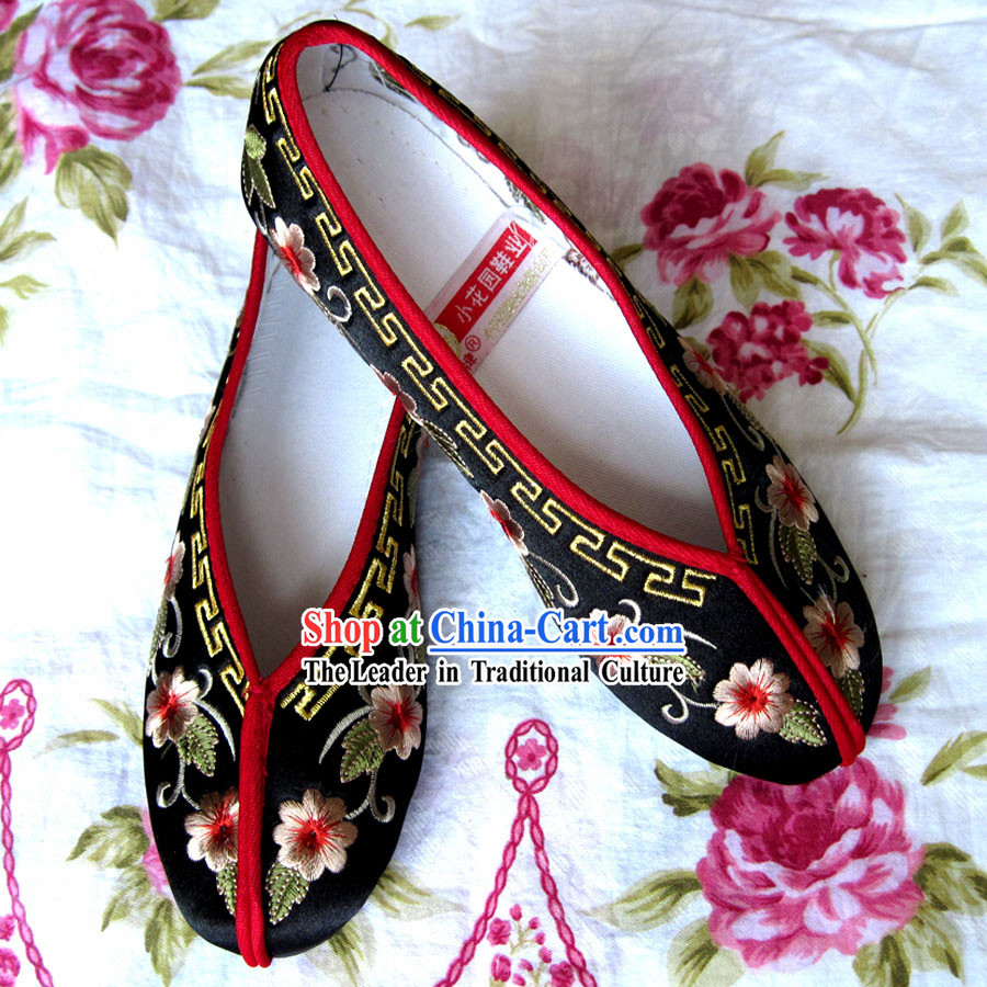 Chinese Black Hanfu Embroidery Shoes for Bride