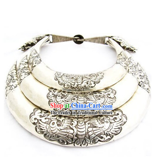 Three Layers Large Silver Miao Minority Necklaces