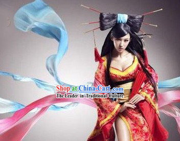 Internet Games Liao Zhai Sexy Beauty Costumes and Wig Complete Set