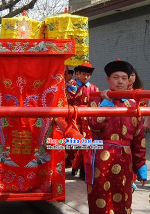 Traditional Chinese Wedding Waiter Costumes and Hat Set
