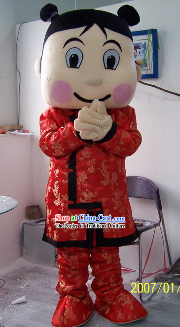 Traditional Chinese Girl Mascot Cartoon Character Costumes Complete Set