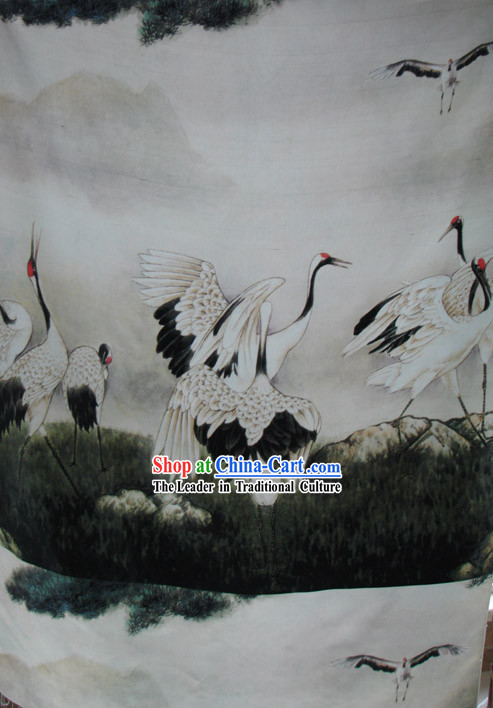 Traditional Chinese Cranes Silk Fabric
