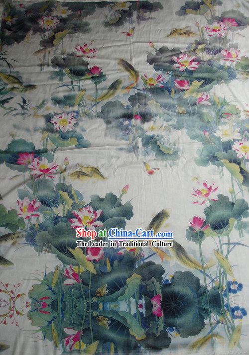 Traditional Chinese Lotus and Fish Silk Fabric