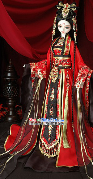 Traditional Ancient Chinese Wedding Dress, BJD Costumes Hair Accessories and Earrings Complete Set