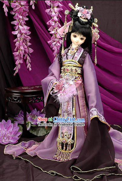 China Tang Dynasty Women Dress and Headpiece Set