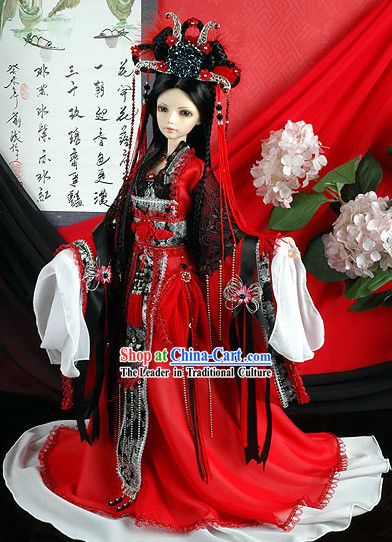Chinese Ancient Lucky Red Palace Costumes Complete Set