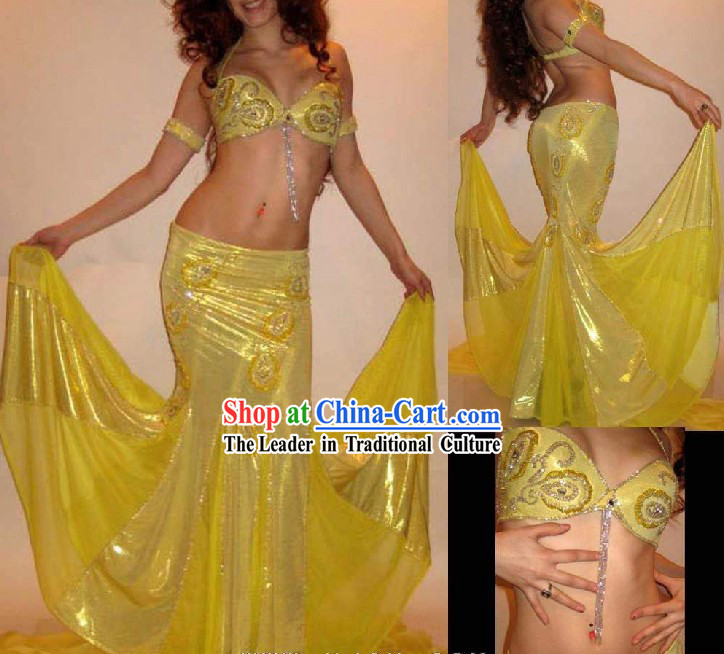 Top Yellow Belly Dance Costumes Complete Set for Women
