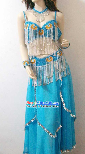 Supreme Blue Belly Dance Costume Complete Set for Women