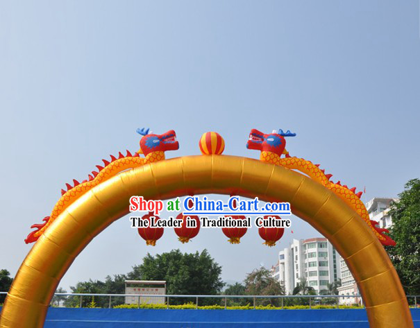 Large Golden Inflatable Dragons and Lanterns Arch