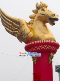 Traditional Large Inflatable Golden Horse Pillar