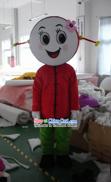 Chinese Drum Face Girl Mascot Costumes Complete Set