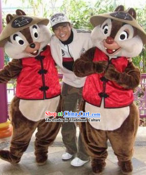 Lovely Chinese Squirrel Mascot Costumes Complete Set