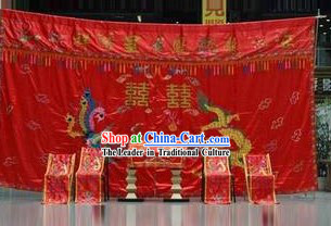 Chinese Traditional Dragon Phoenix Wedding Backdrop