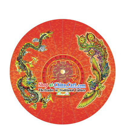 Chinese Hand Made Dragon Phoenix Wedding Umbrella