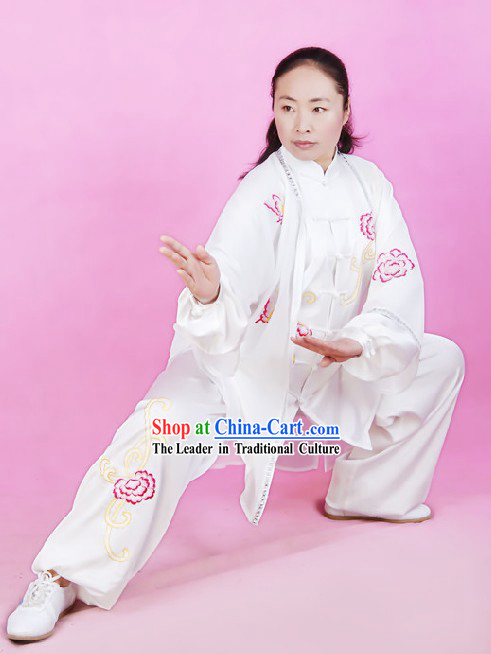 Chinese Silk Embroidered Tai Chi Uniform and Cape Set