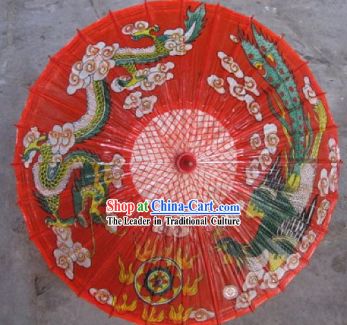 Chinese Hand Made Waterproof Sun Decoration Dragon Umbrella