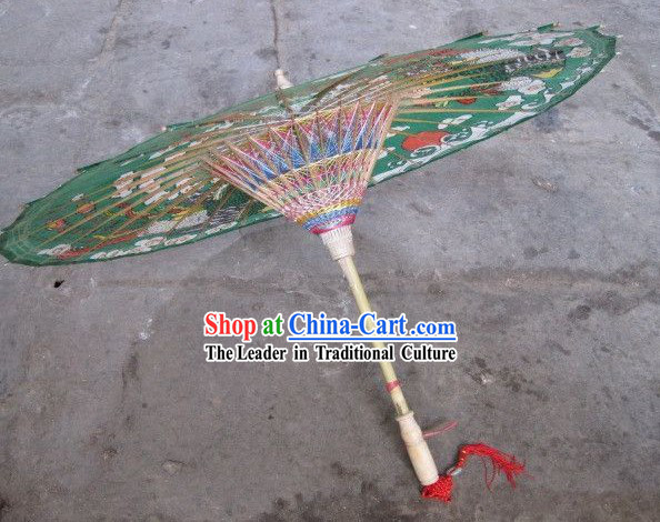 Chinese Hand Made Green Phoenix Umbrella
