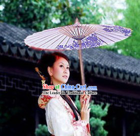 Chinese Blue Flower Hanfu Umbrella