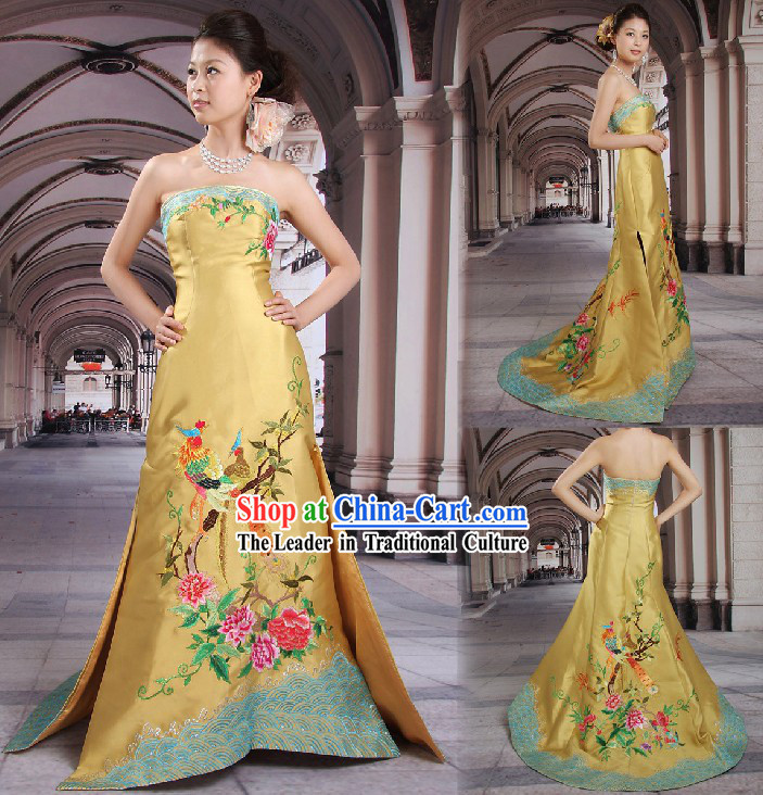 Stunning Chinese Embroidered Wedding Evening Dress