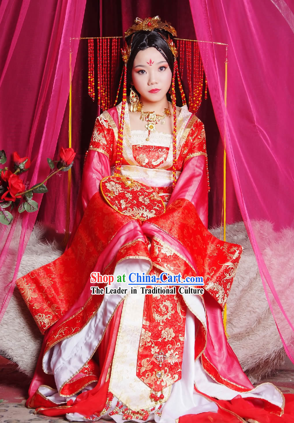 Tang Dynasty Princess Dress and Hair Accessories Complete Set