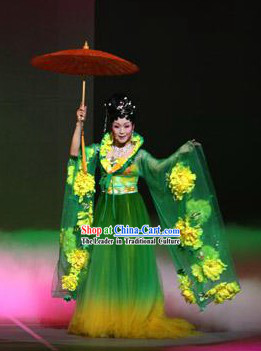 Chinese Folk Umbrella Dancing Costume Set for Women
